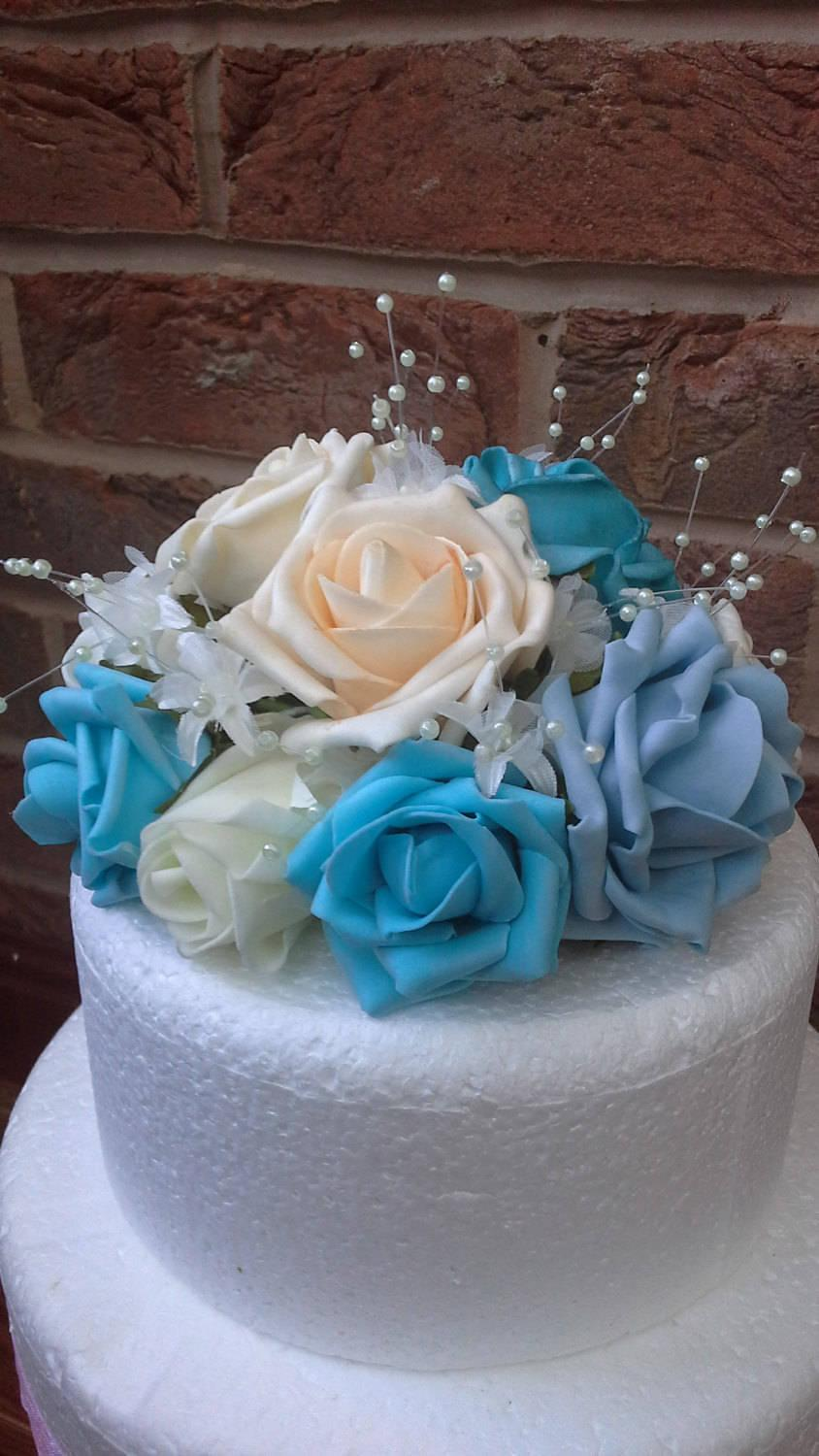 Mariage - Floral cake topper. Wedding cake topper. Teal, blue cream and ivory foam rose cake topper. crystal cake topper. pearl cake topper.