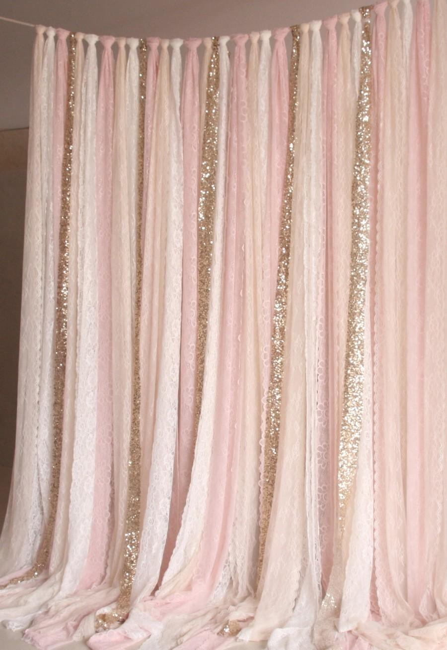 Mariage - light pink white Lace, Sparkle fabric photobooth backdrop Wedding ceremony stage,birthday,baby shower party curtain backdrop nursery