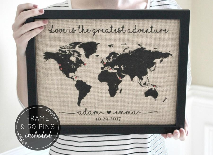 Mariage - Unique Gifts for Men Wedding Gifts for Couple Anniversary Gifts Travel Gifts Push Pin Travel Map, Wedding Gift Travel Gift, Husband Gift
