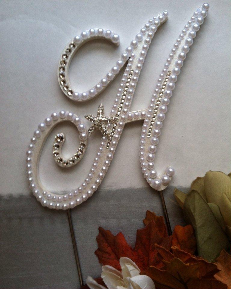 Wedding - Wedding Cake Topper Pearl Monogram Cake Topper w/ Swarovski Crystals Destination Wedding Resort Wedding Letter H Any Letter A to Z