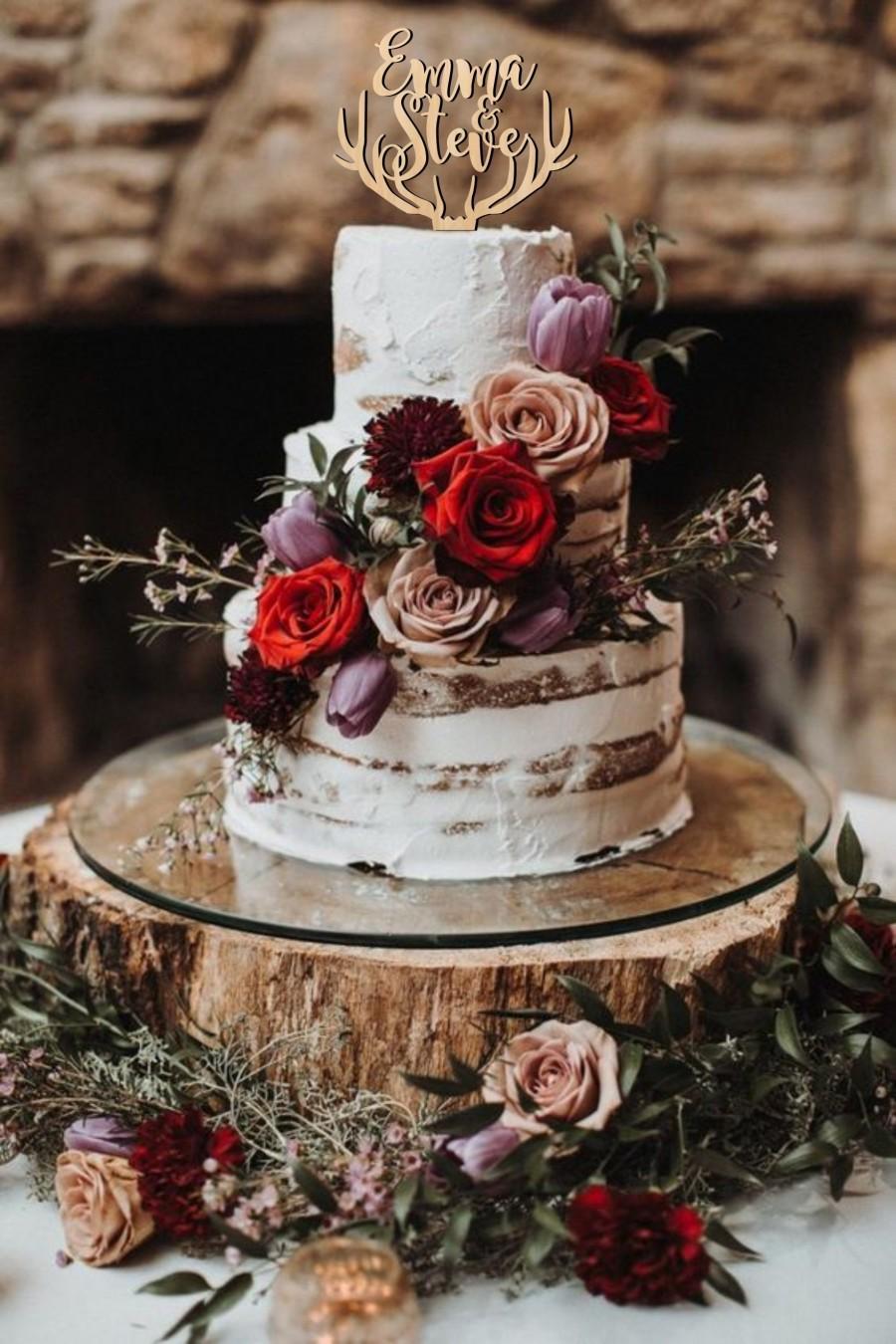 Wedding - Cake topper for wedding, deer antlers cake topper, names cake topper, antlers topper, wedding cake topper, wooden cake topper, custom made
