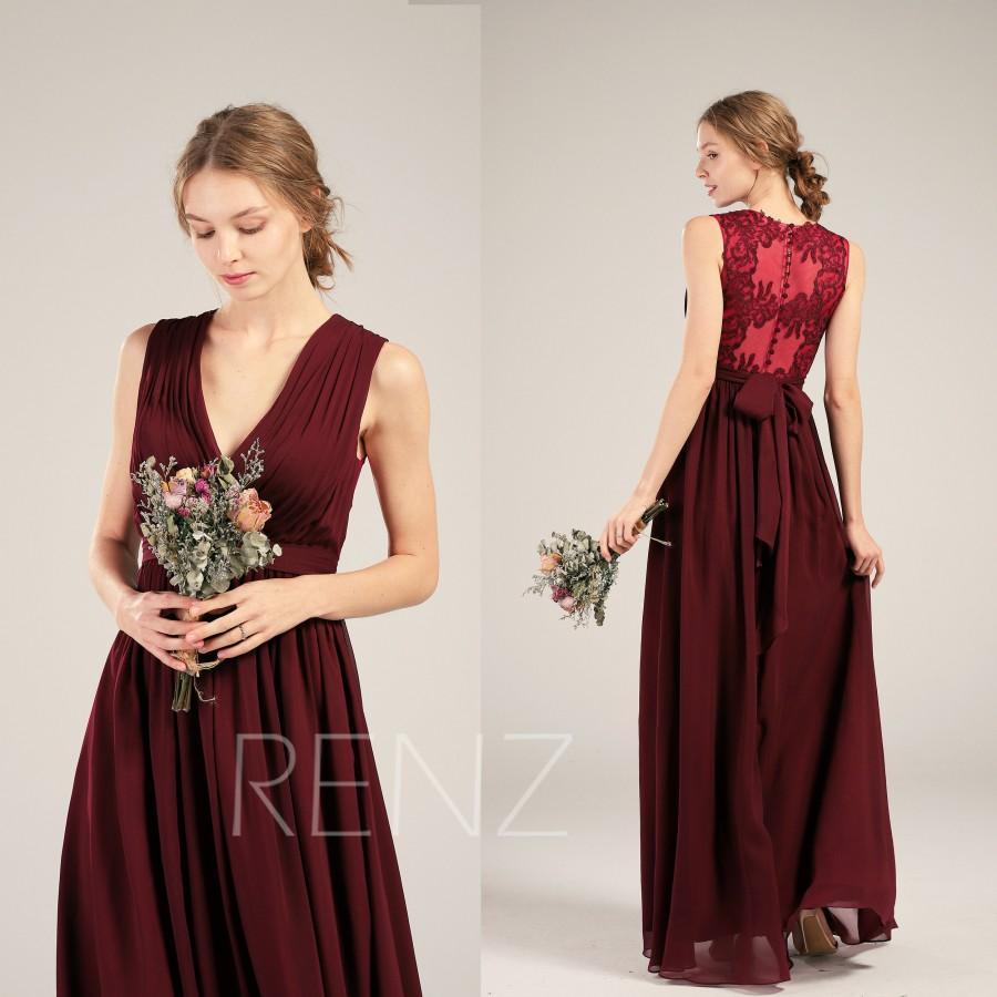 Hochzeit - Bridesmaid Dress Wine Chiffon Dress Wedding Dress Ruched V Neck Maxi Dress Illusion Lace Back Prom Dress A-line Sleeveless Party Dress(L477)