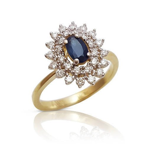 Wedding - Oval Sapphire and Diamond Halo Engagement Ring in 14k Yellow Gold