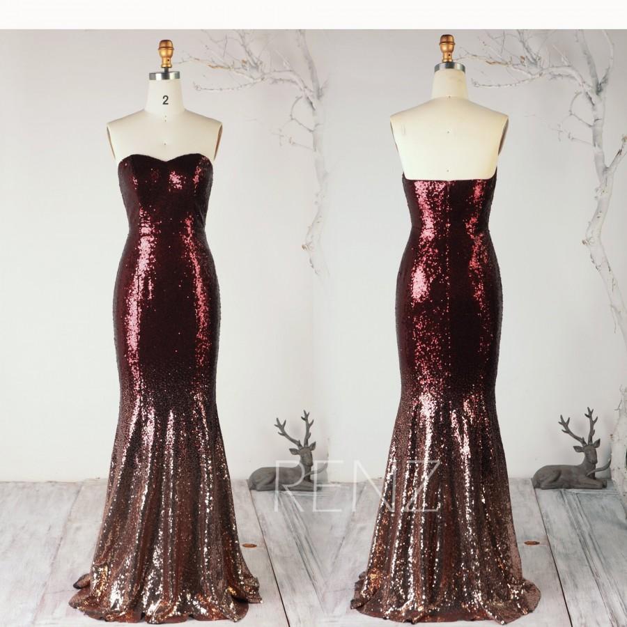 Wedding - Ombre Mermaid Sequin Dress Rose Gold & Wine Bridesmaid Dress Sweetheart Prom Dress Strapless Bodycon Party Dress Wedding Dress - Renz(HQ702)