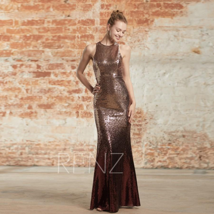 Wedding - Rose Gold & Wine Sequin Ombre Mermaid Dress Round Neck Prom Dress Bodycon Bridesmaid Dress Glitter Party Dress Fitted Wedding Dress(HQ700)