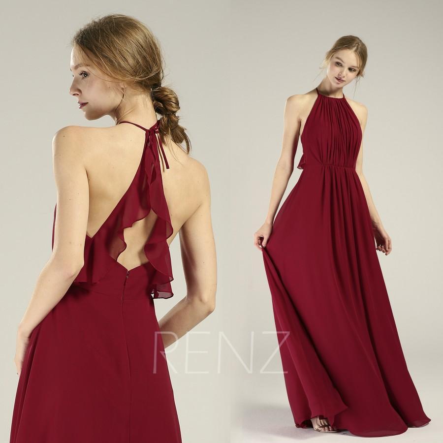 Mariage - Halter Burgundy Bridesmaid Dress Ruched Chiffon Wedding Dress Adjustable Spaghetti Strap Prom Dress Ruffle Open Back A-Line Maxi Dress(H750)