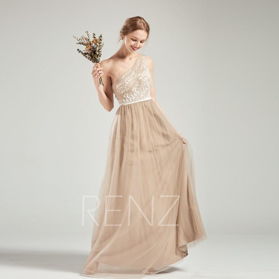 Wedding - Prom Dress Pale Khaki Tulle Bridesmaid Dress One Shoulder Lace Applique Party Dress A-Line Evening Dress Sleeveless Wedding Dress(HS710)