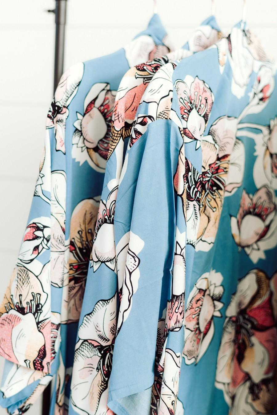 Wedding - NEW UNIQUE DESIGN Blue Floral Robe