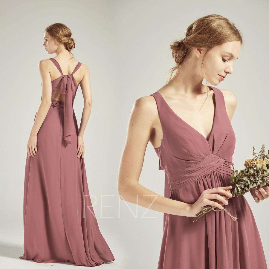 زفاف - Old Rose Chiffon Bridesmaid Dress Wedding Dress V Neck Maxi Dress Adjustable Strap Prom Dress Long A-line Empire Waist Party Dress-H753