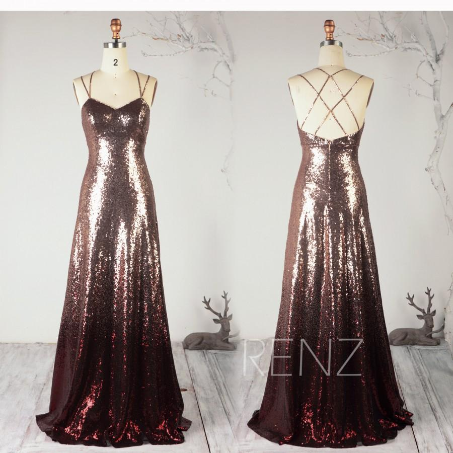 Wedding - Ombre Party Dress Rose Gold & Wine Sequin Dress,Sweetheart Bridesmaid Dress Criss Cross Strap A-line Prom Dress Wedding Dress - Renz(HQ699)