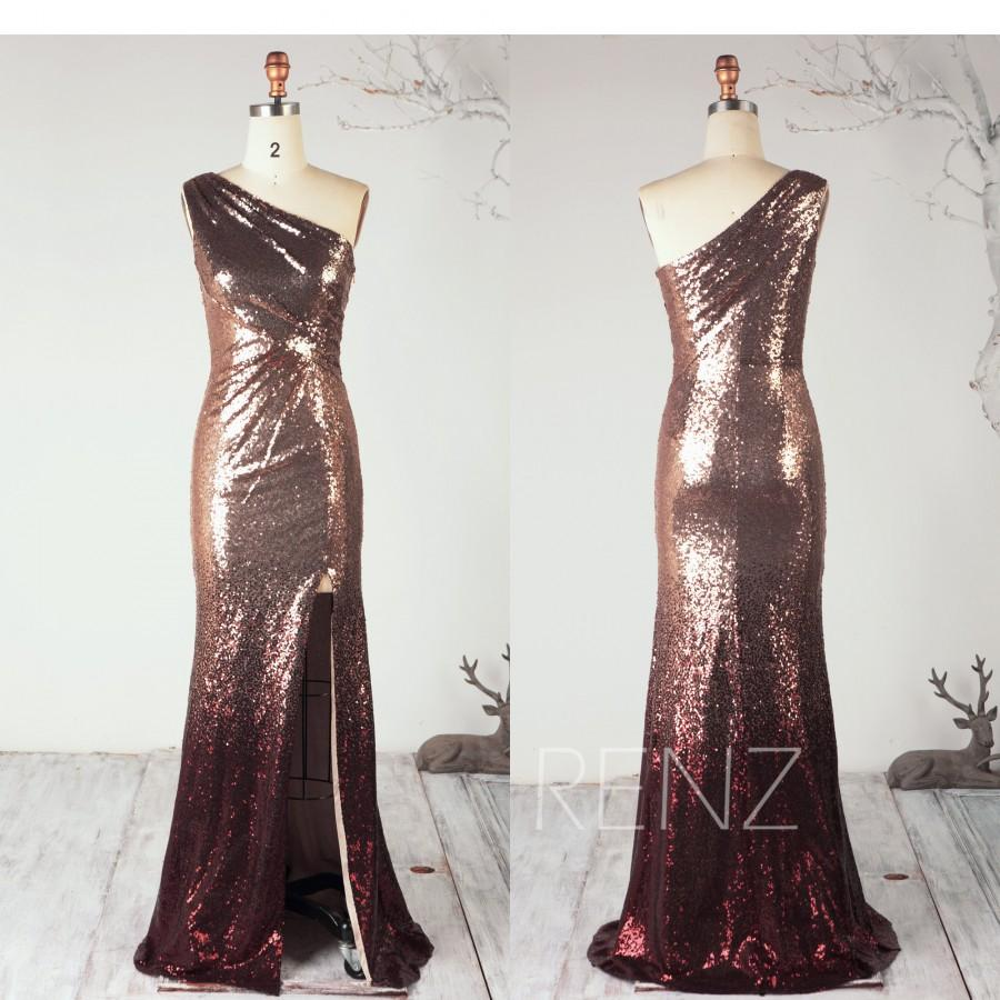Свадьба - Ombre Rose Gold & Wine Sequin Party Dress Ruched One Shoulder Bridesmaid Dress Glitter Bodycon Prom Dress Split Wedding Dress - Renz (HQ698)