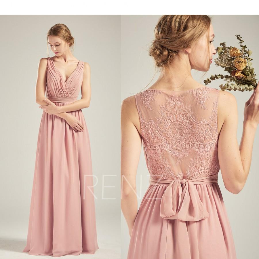 Свадьба - Prom Dress Dusty Rose Chiffon Dress Illusion Lace Beaded Back Party Dress Wedding Dress V Neck Maxi Dress Sleeveless Bridesmaid Dress(H711)