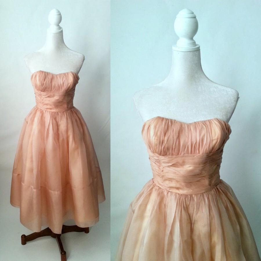 Свадьба - Vintage 1950s Pink Chiffon Strapless Gown, Prom Dress, Wedding Dress, Small