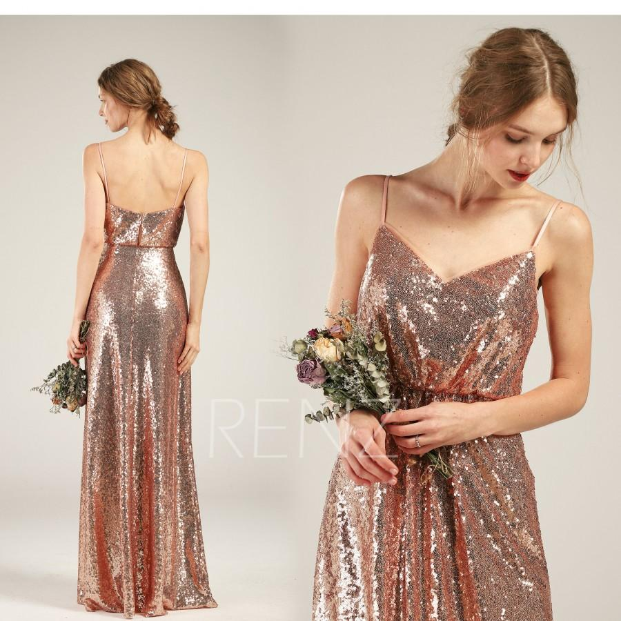 Свадьба - Party Dress Rose Gold Sequin Dress A-line Prom Dress Spaghetti Strap Maxi Dress Low Back Bridesmaid Dress Ruched V Neck Evening Dress(HQ582)