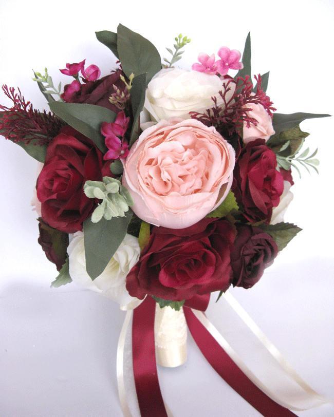 """زفاف - Wedding Bouquet 17 piece package Bridal Bouquets Silk flower Bouquet BURGUNDY Pink BLUSH EGGPLANT Plum Wine Artificial set """"RosesandDreams"""""""