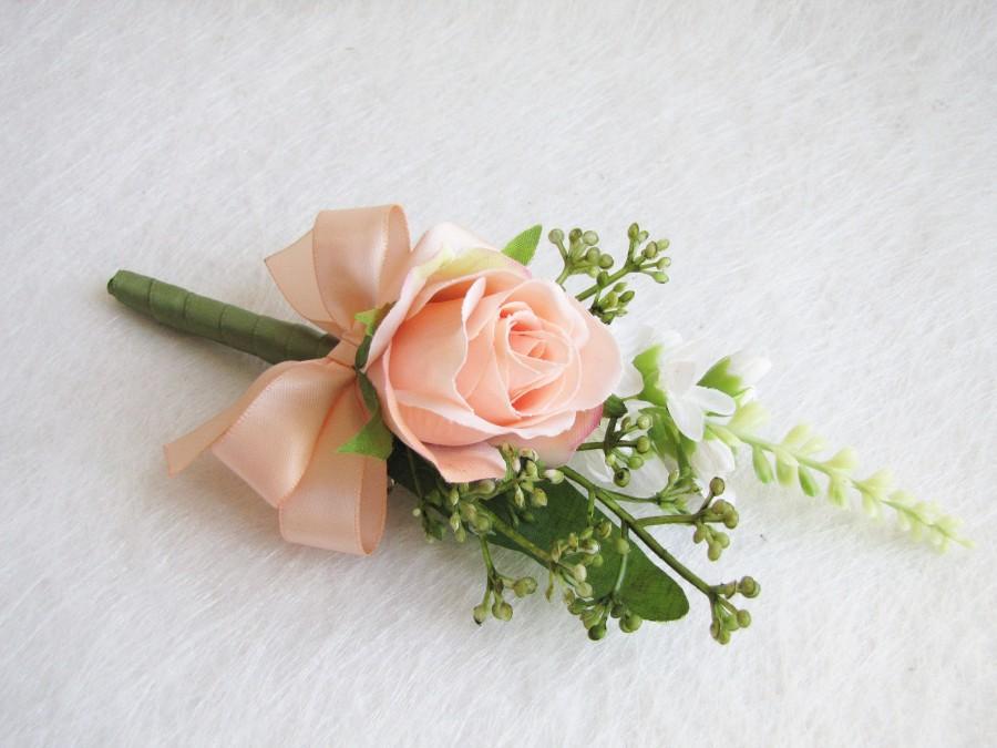 Mariage - Peach Rose Corsage, Peach Rose Boutonnieres, Peach Rose Corsage, Wedding Boutonniere, Rose Wedding