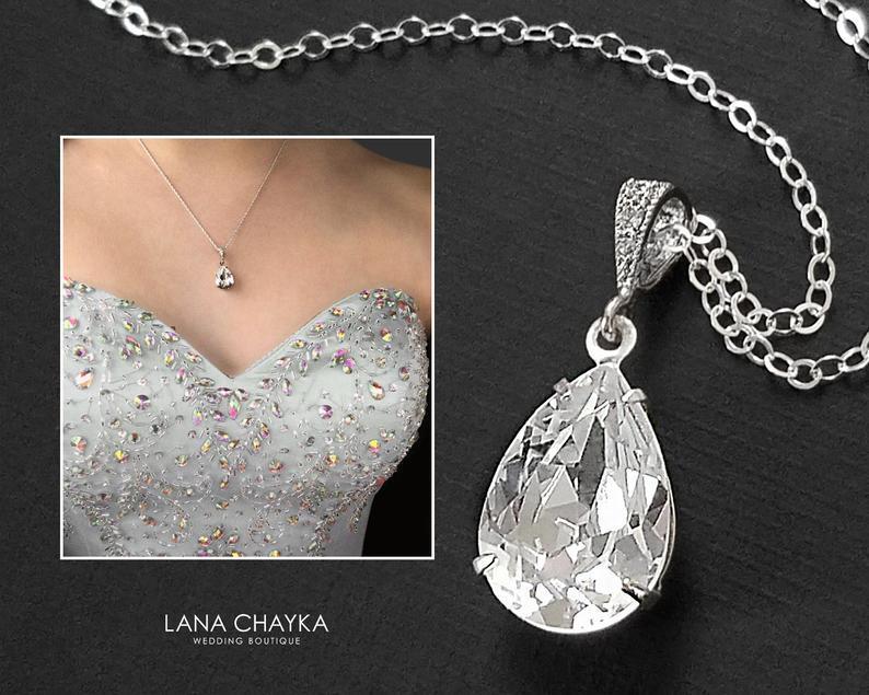 Wedding - Wedding Crystal Necklace, Swarovski Clear Teardrop Rhinestone Necklace, Bridal Crystal Jewelry, Bridesmaid Necklace, Crystal Silver Necklace