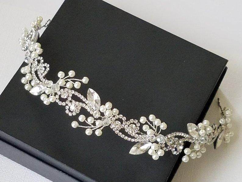Wedding - Bridal Crystal Hair Wreath, Wedding Hair Piece, Rhinestone Pearl Hair Vine, Ivory Pearl Silver Headpiece, Floral Hair Tiara, Bridal Headband