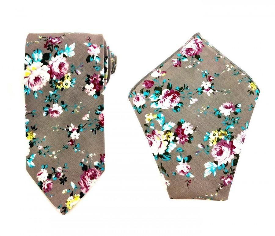 Mariage - Men's Necktie + Pocket Square Grey Floral Cotton 8.5 CM Handkerchief Tie Set. Groomsmen Ties Hanky Combo. Wedding Hankies Tie Bundle Set Men