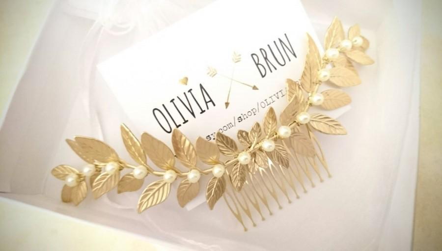 Mariage - Laurel Leaf Comb Gold Laurel Comb Bridal Hair Comb Pearl Hair Comb Pearl Headpiece Grecian Wedding Greek Hair Goddess Headpiece Bridal Hair