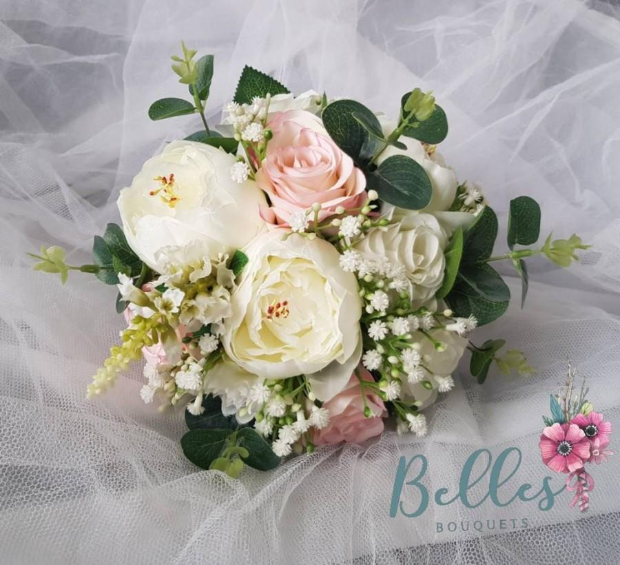 Mariage - Beautiful Brides wedding bouquet Blush Pink Ivory silk gypsophila Peony rose many Colours Available