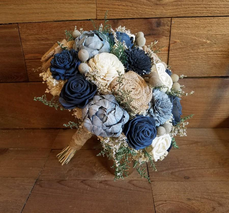 Wedding - Custom Steel, Dusty Blue, Charcoal Blue Grey Sola Wood Flower Burlap Roses and dried Flowers Bridal Bridesmaids Style 78