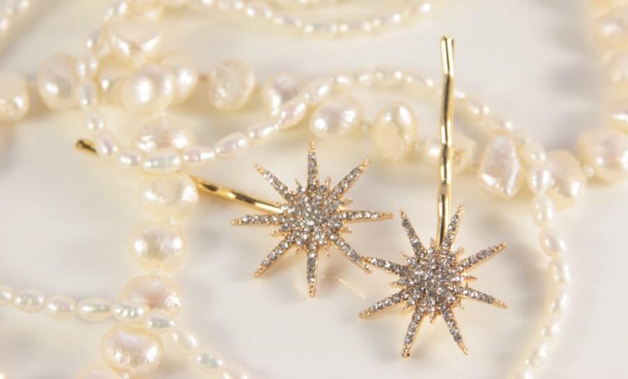 زفاف - Star Hair Clip Gold Great Gatsby Wedding Band Snowflake Star Hair Piece Pin Bridal Star Headpiece Starry Fairy Bridal Hair Comb Elsa Crystal