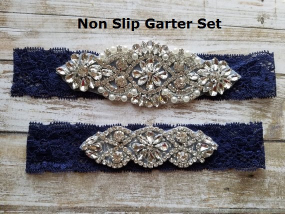Wedding - Sale -Wedding Garter and Toss Garter-Crystal Rhinestone - Navy Blue Garter Set - Style G37000CR
