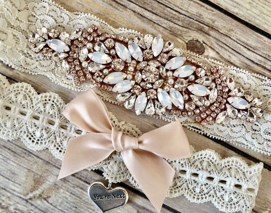 Свадьба - Rose Gold Wedding Garter, No Slip Lace Wedding Garter Set, Vintage Rhinestones and Opals, Bridal Garter Set - 3101-VI