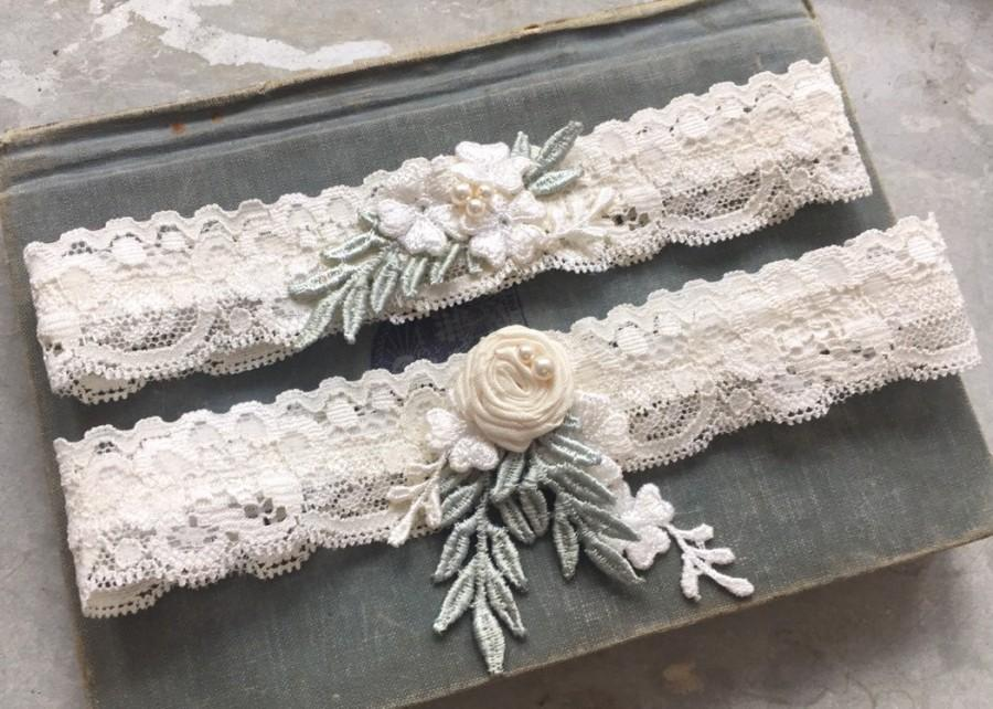 "Wedding - Lace Wedding Garter Set, Boho Garters, Bohemian, Ivory Garter Set, Lace Garters, Toss Garter, Boho Wedding, ""Anya"""