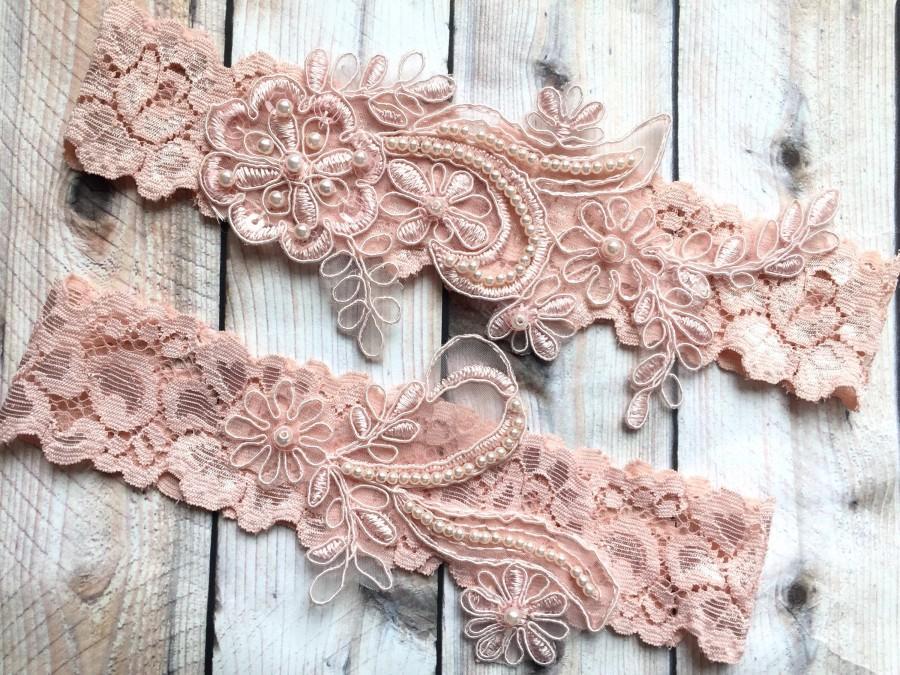 Mariage - Wedding garter blush, blush garter set, blush lace garter, blush bridal garter, lace garter set blush, blush garter belt, lace garter belt