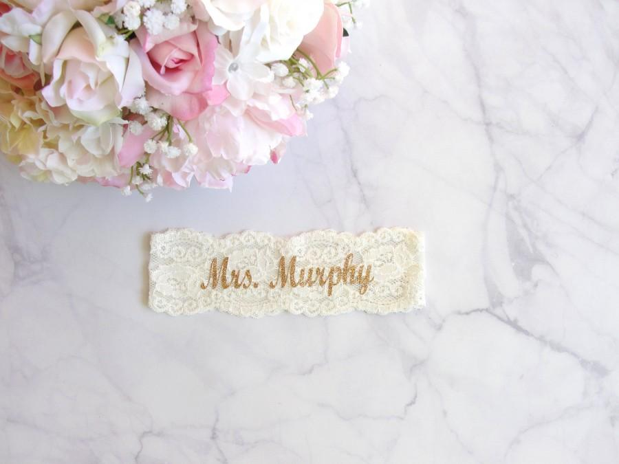 زفاف - 70+ Colors, Mrs. Garter, Wedding Garter, Personalized Garter, Gold and Ivory, Custom Text, Bridesmaid Gifts, Bach Party, Prom Garter