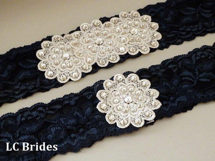 زفاف - Navy Blue Swarovski Crystal Bridal Wedding Garter Set, Lace Bridal Garter Set, Wedding Garter Blue, Bridal Garter Set Blue
