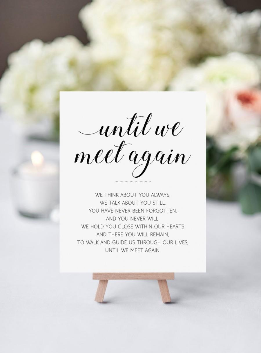 Wedding - Memorial sign, Printable wedding sign, Until we meet again