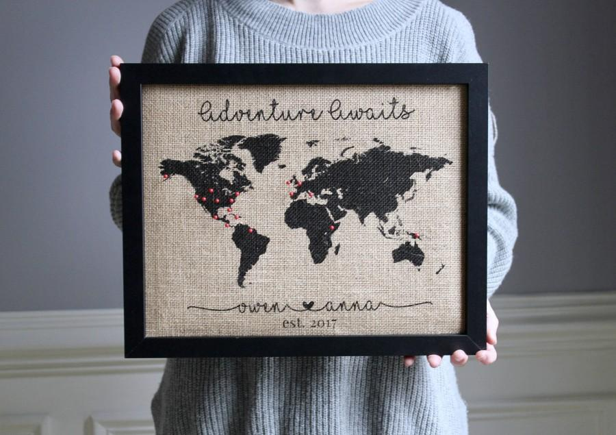 Wedding - Adventure Awaits World Map World Traveler Gift for Man Travel Gift Burlap Push Pin Travel Map Anniversary Gifts for Men Gifts for Boyfriend