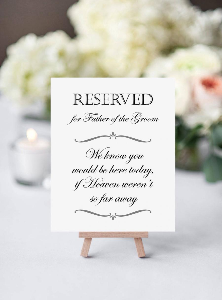 Mariage - Father Of The Groom Memorial, Reserved Sign Memorial, Wedding Heaven, In Memory of FOTG, Memorial Sign, Father Memorial, Printable Memorial