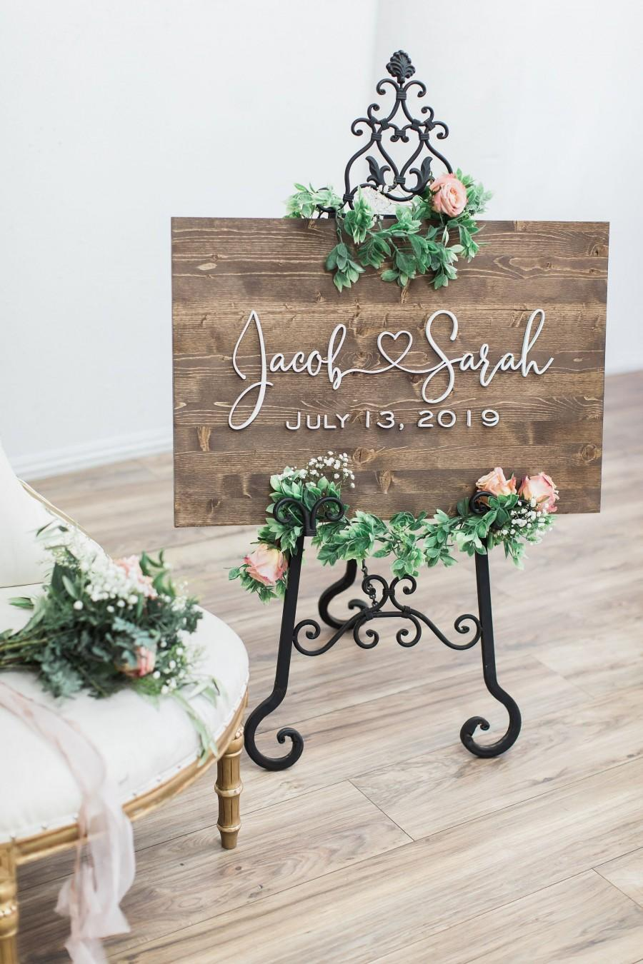 Mariage - Wedding Welcome Sign, Wedding Sign, Rustic Wood Sign, Wedding Signage, Wedding Name Sign, Wood Wedding Sign, Custom Wedding Sign, Name Sign