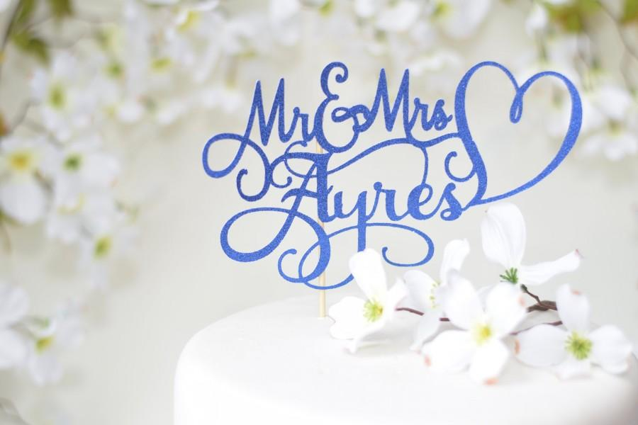Mariage - Blue Mr and Mrs Wedding Cake Topper ~ Custom wedding cake topper for wedding ~ navy wedding cake topper ~ lavender wedding cake topper