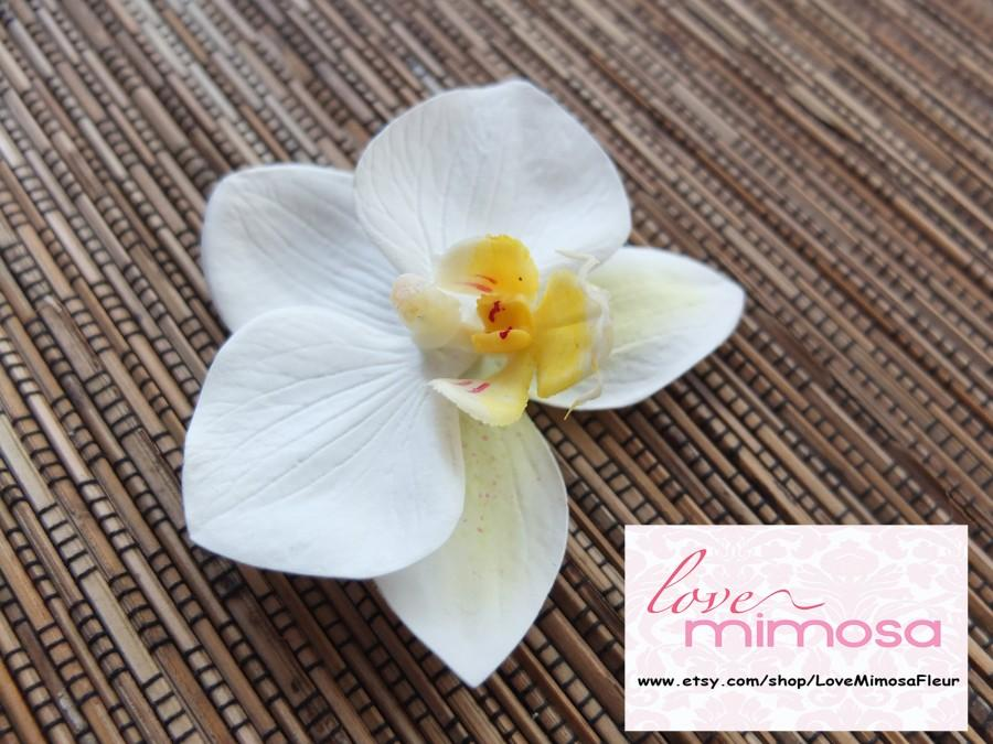 Mariage - Ivory Orchid Hair clip, Wedding Accessories, white phalaenopsis orchid Headpiece