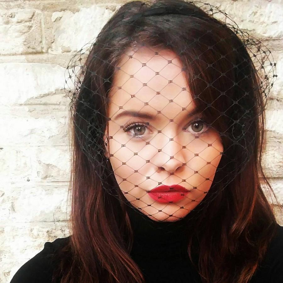 Свадьба - Black veil headband Merry widow fascinator veil birdcage veil funeral veil voilette wedding veil bachelorette veil gothic bride kylie jenner