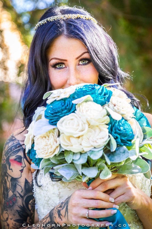 Hochzeit - Teal and Ivory Wood Flower Bouquet