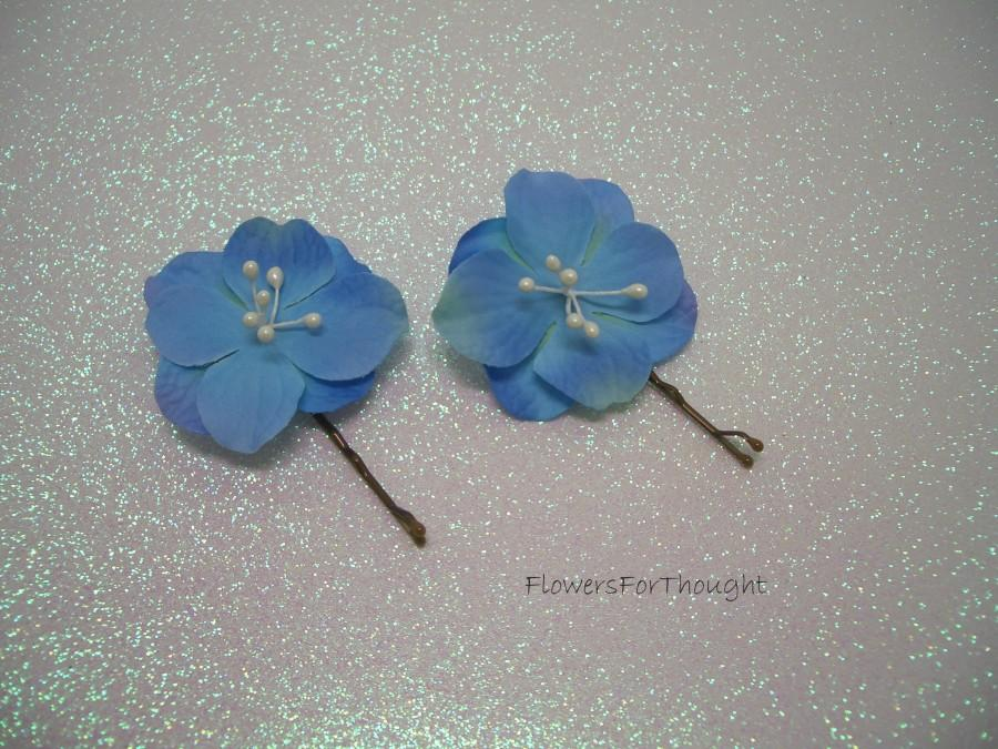 Mariage - Blue Hydrangea Wedding Hair Pins, Something blue for the bride