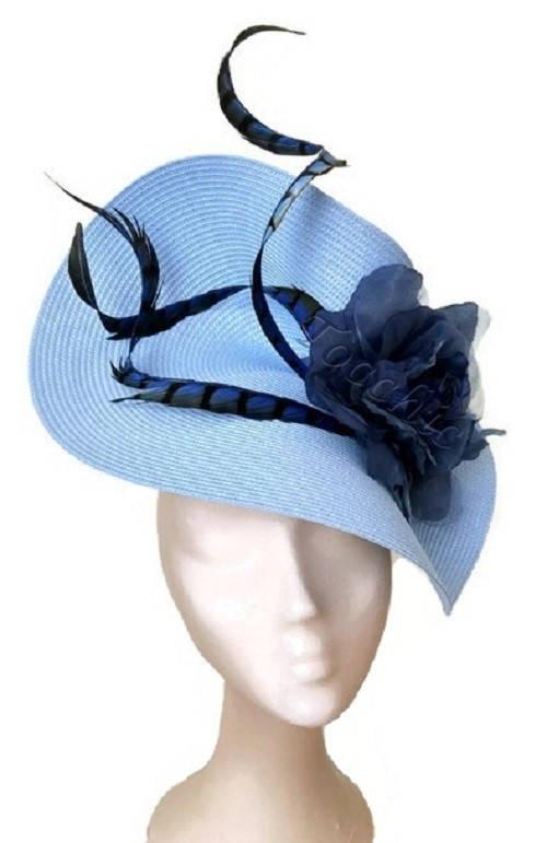 Mariage - Pale blue fascinator, light blue hat, royal blue ascot hat, electric blue fascinator, blue wedding hat, pale blue derby hat, blue races hat