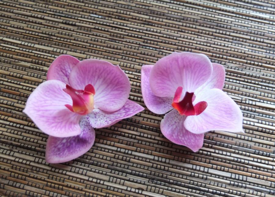 Mariage - A Pair of Pink Orchid Hair clip, Wedding Accessories,  pink phalaenopsis orchid Headpiece