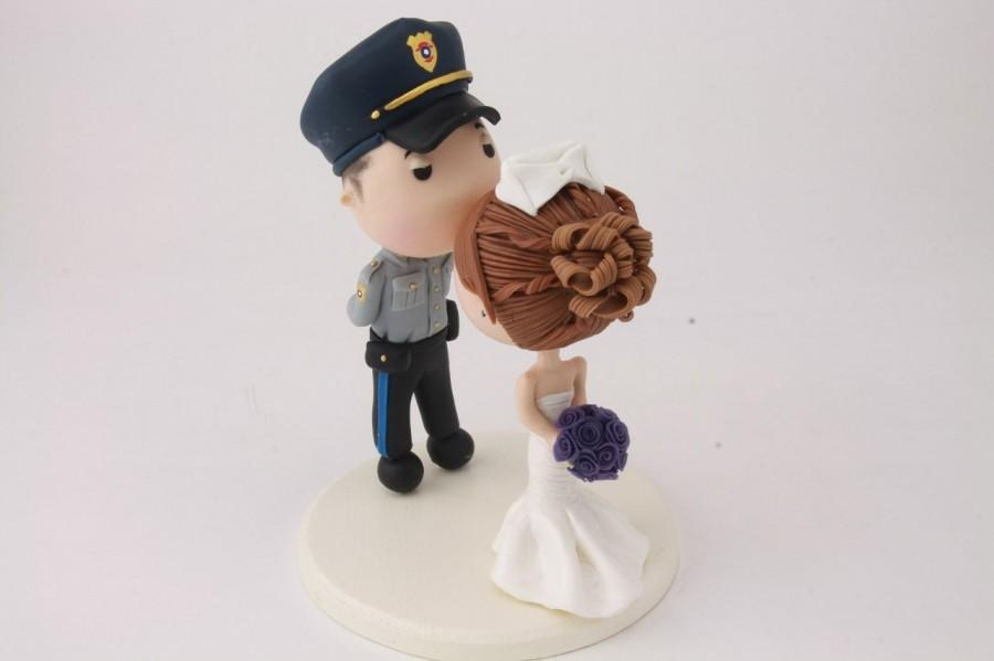 Mariage - Wedding cake topper. Police Officer and Nurse. Handmade. Fully customizable. Unique keepsake.