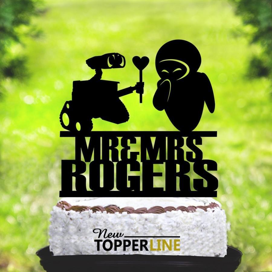 Mariage - Wall-e and Eva Wedding Cake topper,Wall-e and Eva Cake Topper,Wedding Silhouette Cake Topper,Inspired Wedding Cake Topper,Cake Topper (2134)