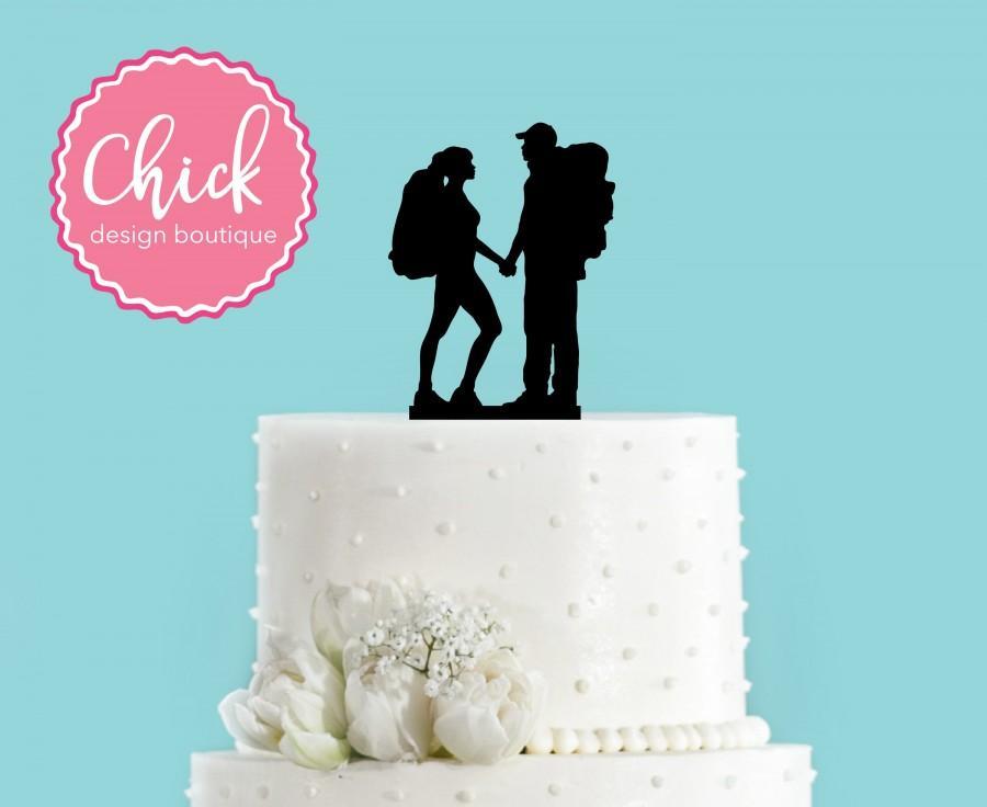 Mariage - Hiking Couple Backpacking Bride and Groom Mountain Wedding Acrylic Wedding Cake Topper