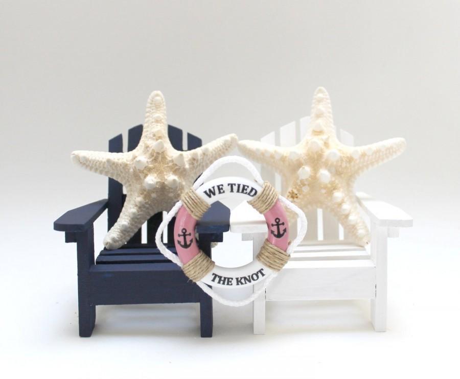 Hochzeit - Adirondack Chairs, Wedding Chair Cake Toppers, MiniLifeRings, StarFish Wedding, Navy White Wedding, Beach Wedding Cake Topper,Wedding Chairs
