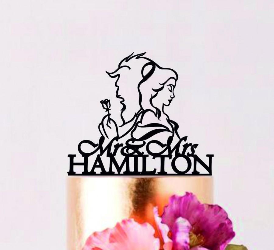 Hochzeit - Beauty and the Beast Wedding cake topper, Wedding Silhouette, Silhouette Mr and Mrs, Disney Cake Topper, Happily ever after