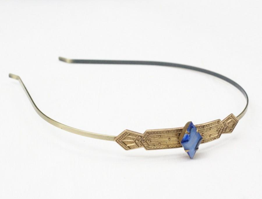 Mariage - Art deco headband sapphire blue crystal jewel brass 1920's style flapper great gatsby vintage style hair accessory rhinestone